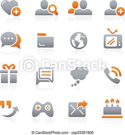Social Communications Icons Graphite - csp33381908