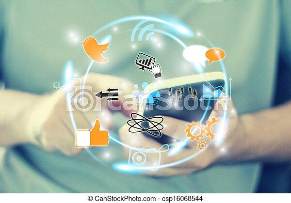 social, concept, réseau, média - csp16068544