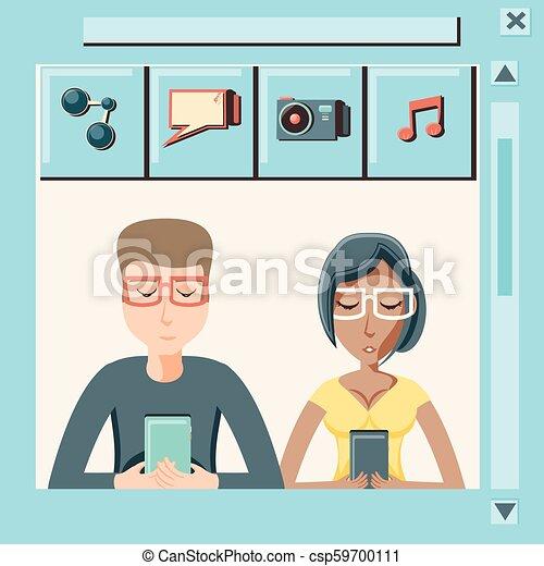 social, média, couple, smartphone, icônes - csp59700111