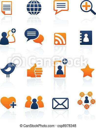 Social Media and network icons, vector set - csp8978348
