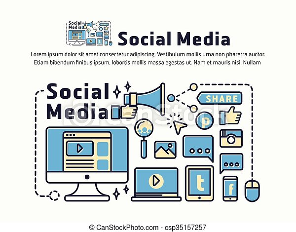 Social Media And Network Marketing Icons And Symbols For Web Header