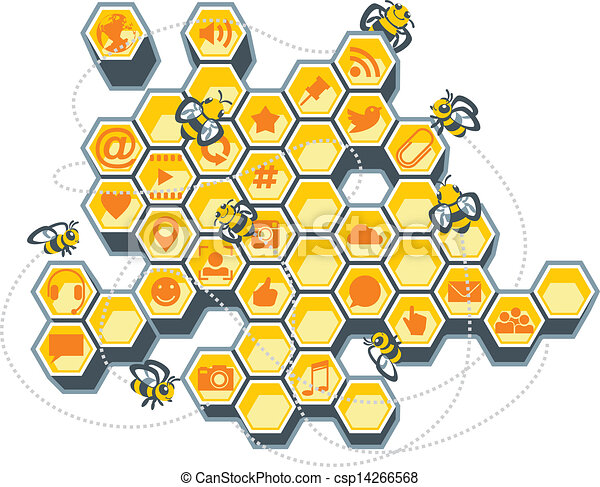 Social Media Bee Hive Vector Illustration Of A Honeycomb