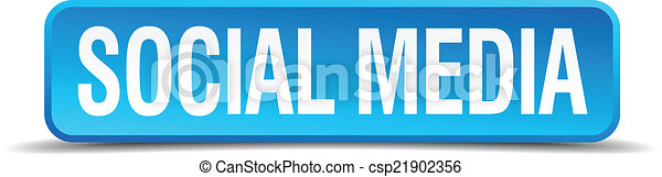 Social media blue 3d realistic square isolated button - csp21902356