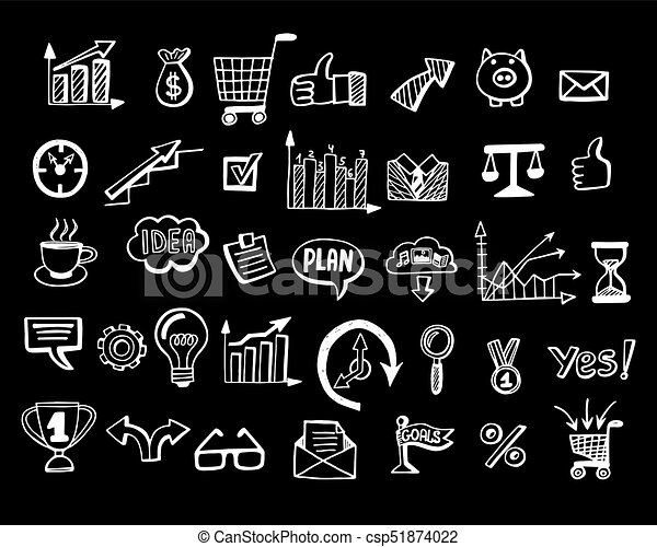 Social Media Business Doodles Black Background Social Vector