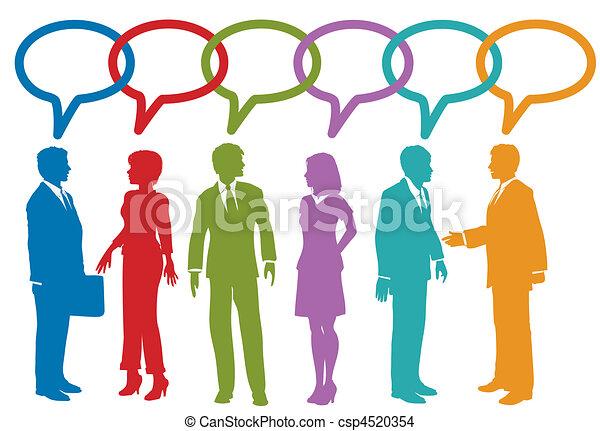 Social media business people talk speech bubble - csp4520354