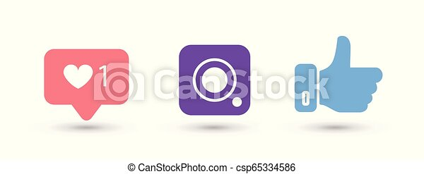 Social media color icons on white background - csp65334586
