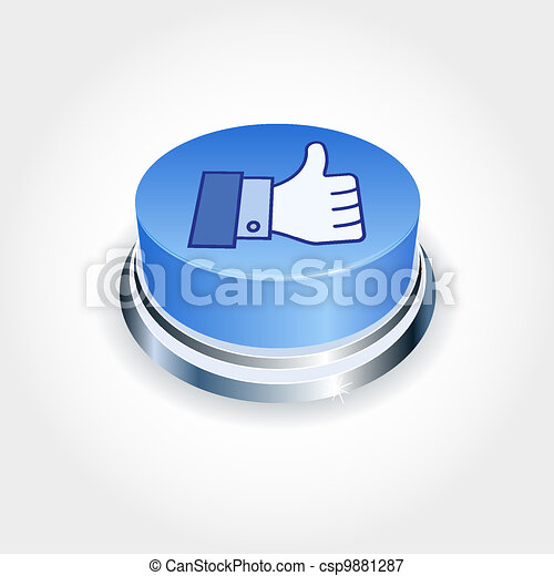 Social media concept. Blue Like button in perspective. Thumb Up - csp9881287