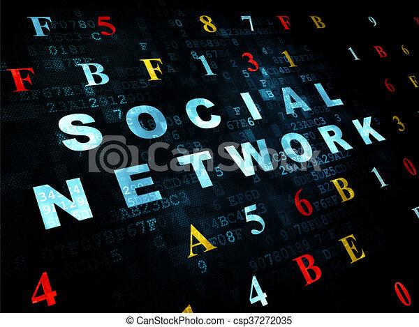Social media concept: Social Network on Digital background - csp37272035
