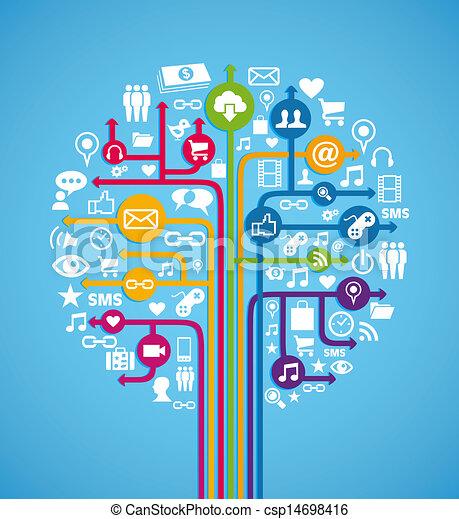 Social media concept tree - csp14698416