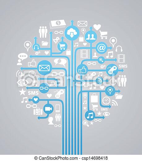 Social media concept tree - csp14698418