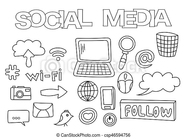 Social media elements hand drawn set. coloring book template ...