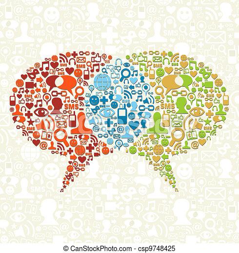Social media icon set in bubbles talk - csp9748425