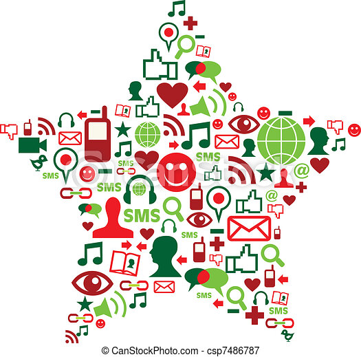 Social media icons in christmas star - csp7486787
