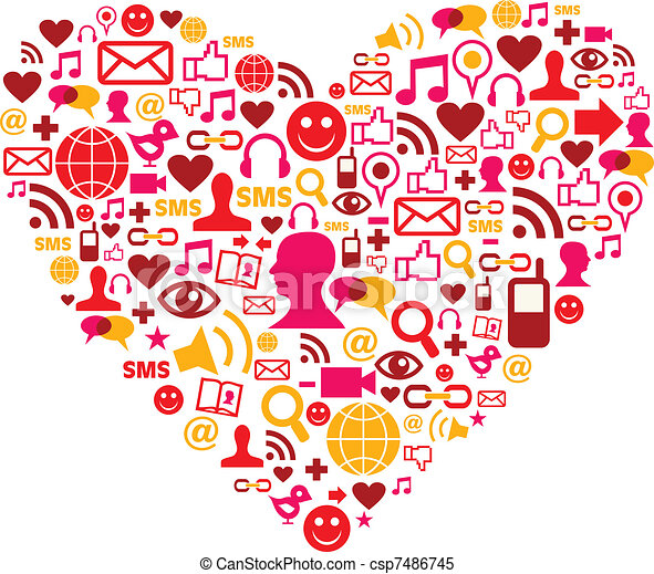 Social media icons in heart shape - csp7486745