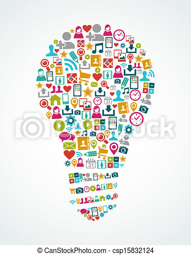 Social media icons isolated idea light bulb EPS10 file. - csp15832124