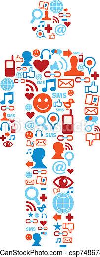 Social media icons man - csp7486788