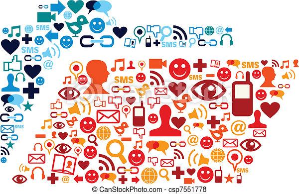 Social media icons set folder composition - csp7551778
