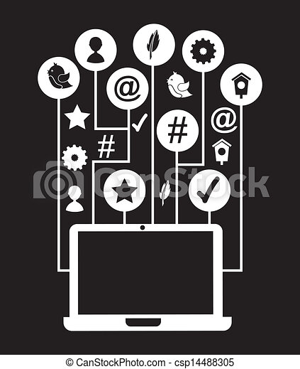 Social Media Icons Over Black Background Vector Illustration