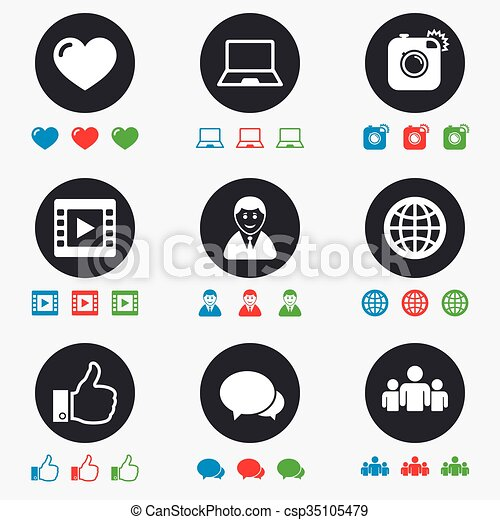 Social Media Icons Video Share And Chat Signs Human Photo Camera