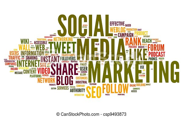 Social media marketing in tag cloud - csp9493873