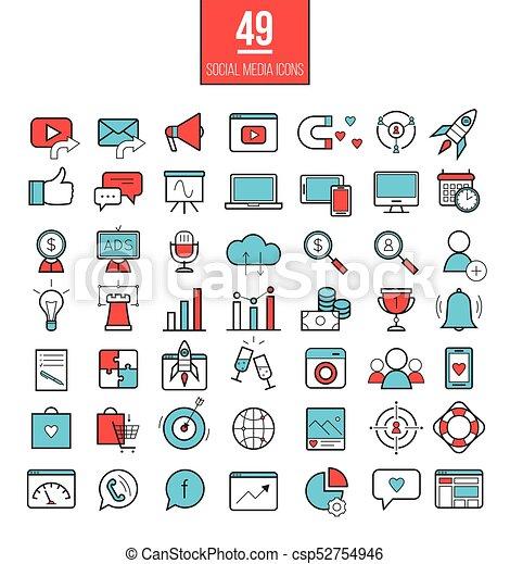 Social media marketing modern line icons set  SMM bright vector symbols