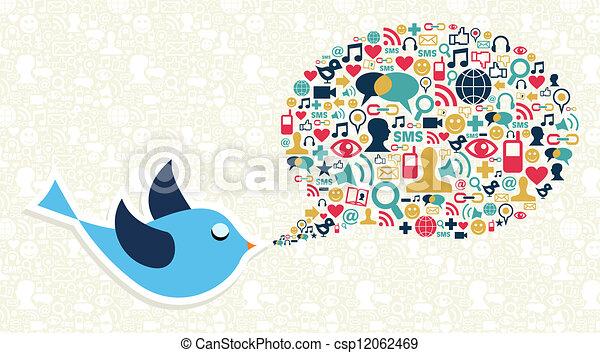 Social media marketing twitter bird concept - csp12062469