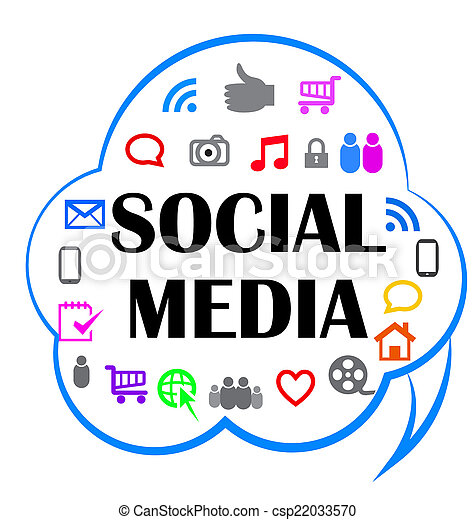 Social media meaning in a cloud shape icon - csp22033570