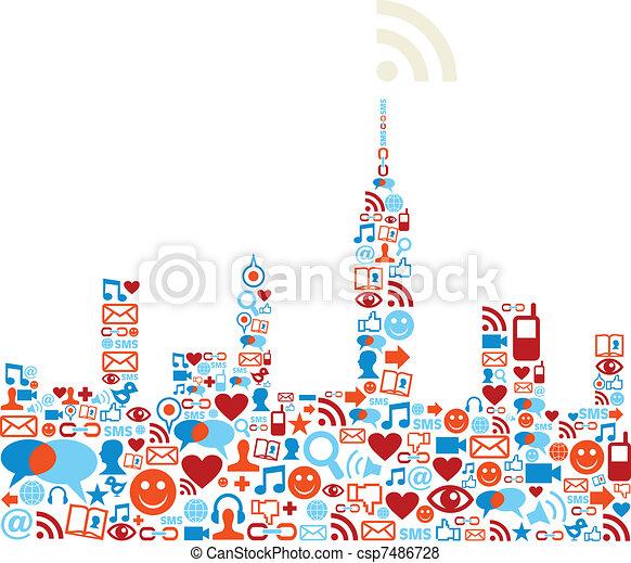 Social media network city concept - csp7486728