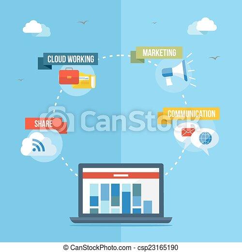 Social media network concept flat illustration - csp23165190