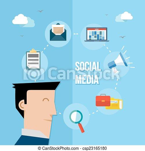 Social media network flat illustration - csp23165180