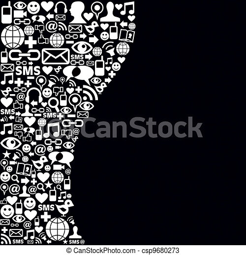 Social Media Network Icon Background Black And White Social