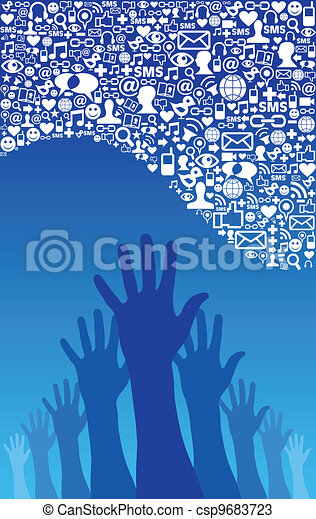 Social media network icons and hand - csp9683723