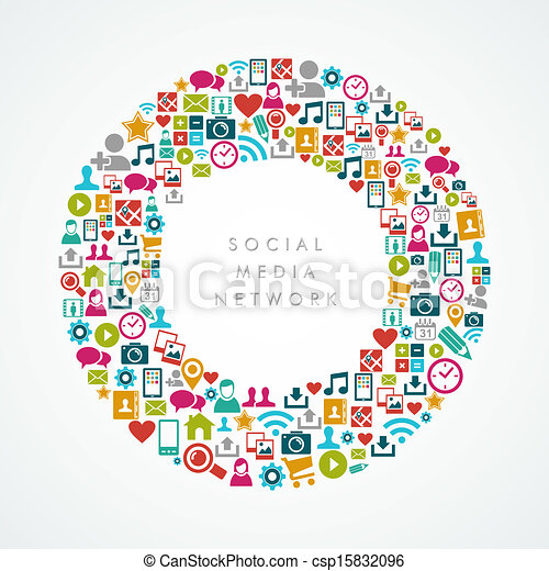 Social media network icons circle composition EPS10 file. - csp15832096