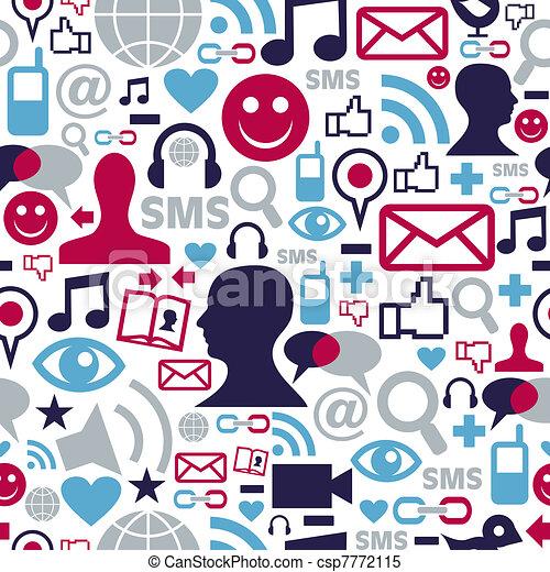 Social media network icons pattern - csp7772115