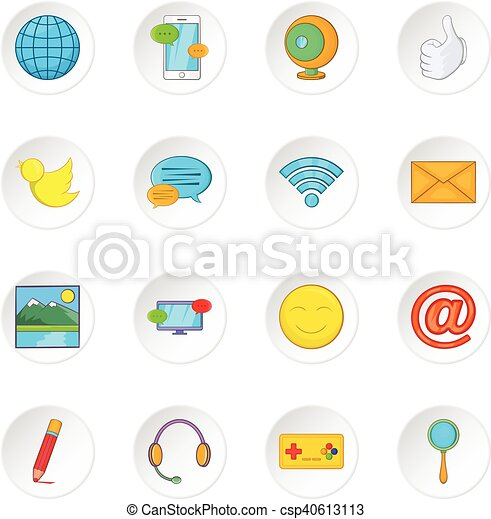 Social media network icons set, cartoon style - csp40613113