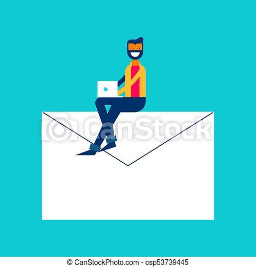 Social media network message concept illustration - csp53739445