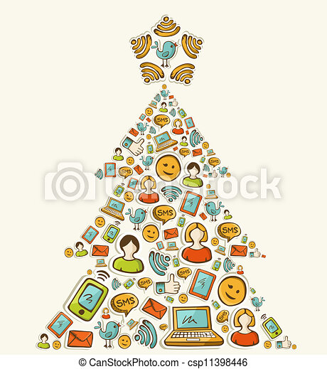 Social media networks Christmas tree - csp11398446