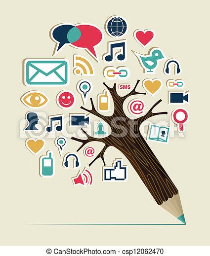 Social media networks pencil tree - csp12062470
