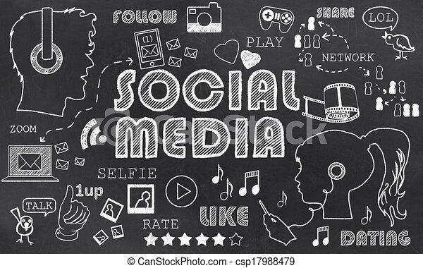 Line Art Media Design : Social media on blackboard wit chalk doodles stock illustrations