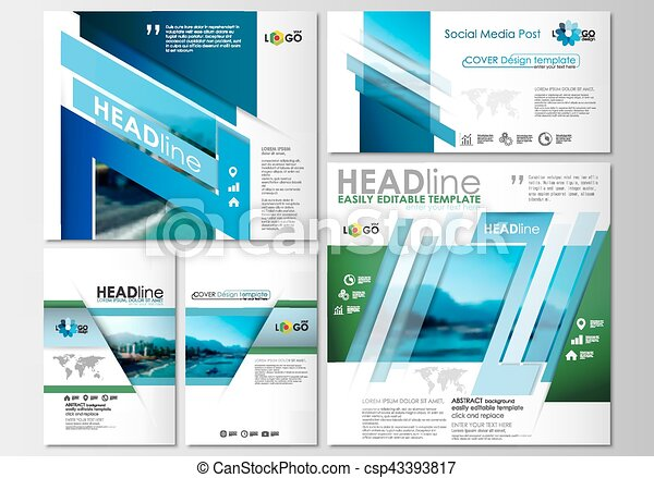Social media posts set. Business templates. Cover design, abstract flat style travel decoration layouts in popular formats, easy editable vector template, colorful blurred natural landscape. - csp43393817