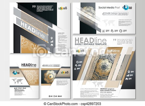 Social Media Posts Set Business Templates Cover Design Template - Social media post template