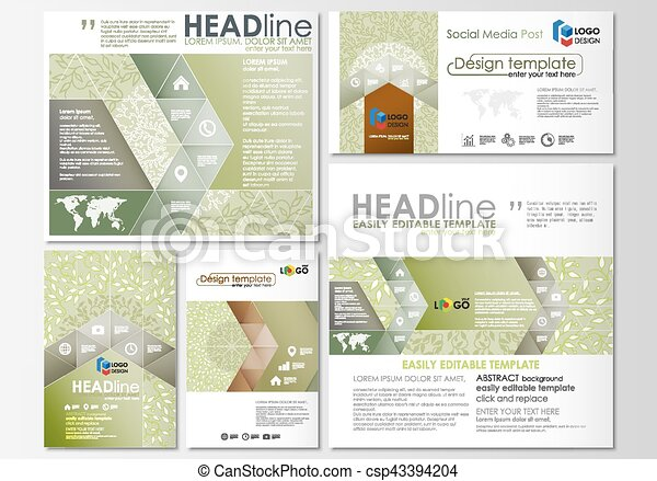 Social media posts set. Business templates. Flat design template, abstract layouts. Green color background with leaves. Spa concept in linear style. Vector decoration for beauty industry. - csp43394204