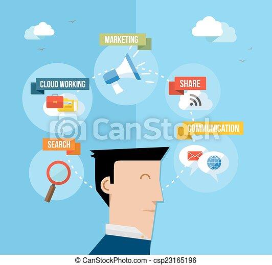 Social media user concept flat illustration - csp23165196