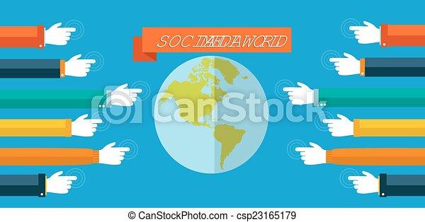 Social media world concept flat illustration - csp23165179