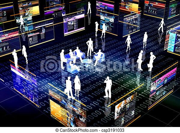 social, nätverk, gemenskap, direkt - csp3191033