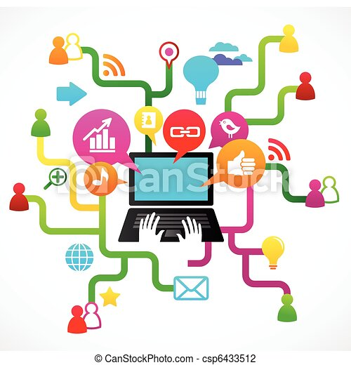 Social network background with media icons - csp6433512