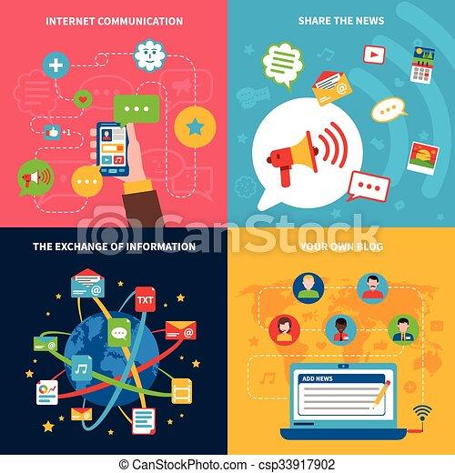 Social Network Concept Icons Set Social Network Concept Icons Set