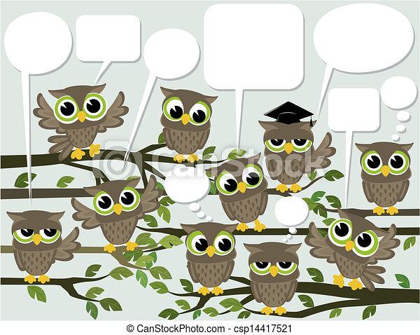 social network cute owls - csp14417521