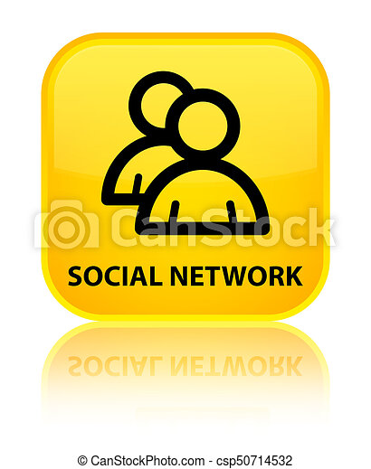 Social network (group icon) special yellow square button - csp50714532