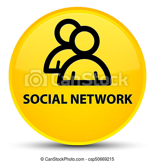 Social network (group icon) special yellow round button - csp50669215